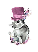 Load image into Gallery viewer, Top hat Bunny Pink Print