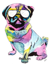 Load image into Gallery viewer, Pug with Glasses  Print