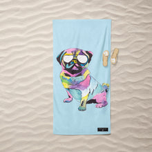 Load image into Gallery viewer, Inkheart Pug with Glasses Suede Beach Towel