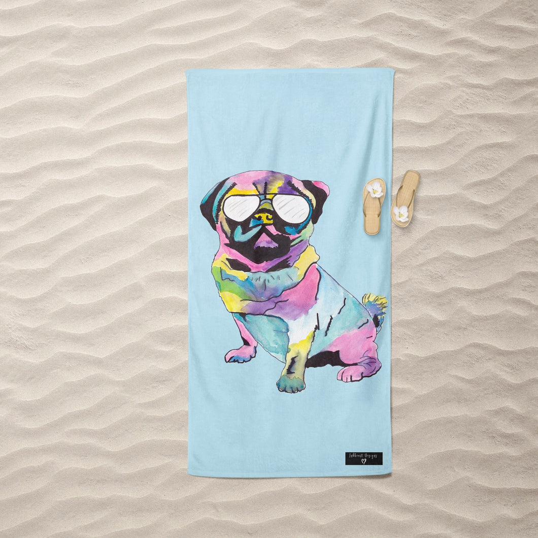 Inkheart Pug with Glasses Suede Beach Towel