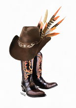 Load image into Gallery viewer, Cowboy Boots  (Orange)  Print