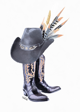 Load image into Gallery viewer, Cowboy Boots (Grey) Print