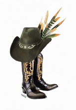 Load image into Gallery viewer, Cowboy Boots  (Green/Orange )  Print