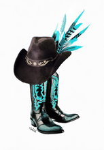 Load image into Gallery viewer, Cowboy Boots ( Teal) Print