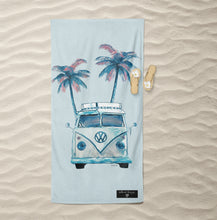 Load image into Gallery viewer, Blue Kombi Inkheart sand free Suede Beach Towel