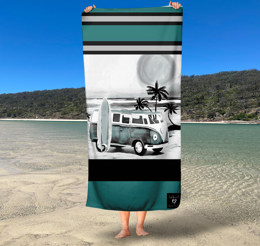 (Available March 2021) Kombi Stripe  Inkheart sand free Suede Beach Towel