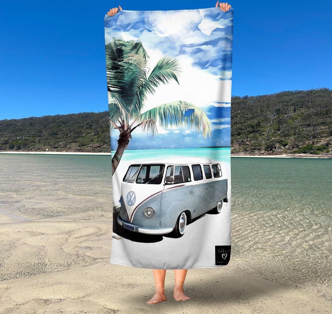 (Available March 2021) Kombi beach Inkheart sand free Suede Beach Towel