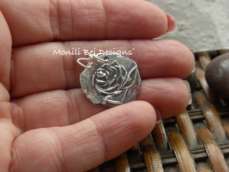 Hand Carved Rose Pendant Necklace