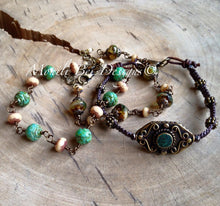 Load image into Gallery viewer, Czech Glass Bracelet picture with a Tibet beaded woven bracelet. Green Rose w/beige, warm Beige w/ beige