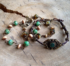 Czech Glass Bracelet picture with a Tibet beaded woven bracelet. Green Rose w/beige, warm Beige w/ beige