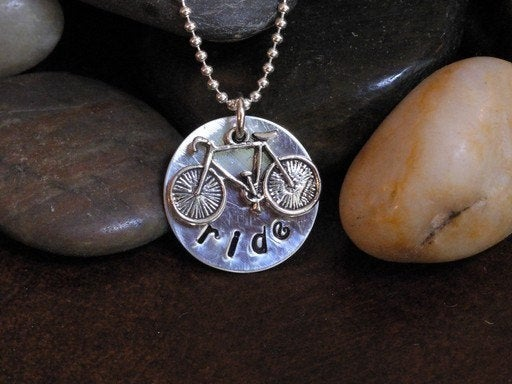 Hand stamped Bike Charm Necklace