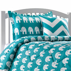 Turquoise and White Elephants Duvet Covers