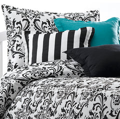 Black and White Damask Twin Extra Long Bedding