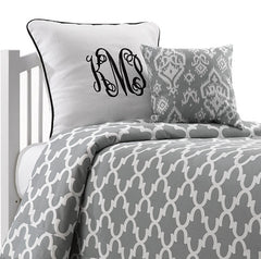 http://www.amdorm.com/products/cool-grey-quatrefoil-dorm-bedding