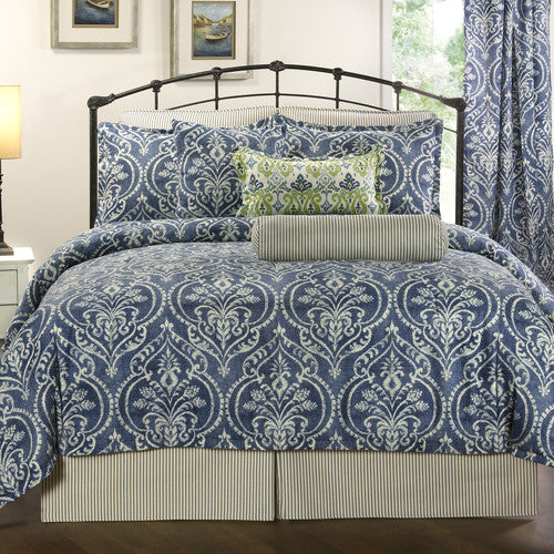 Blue Denim Damask Bedding