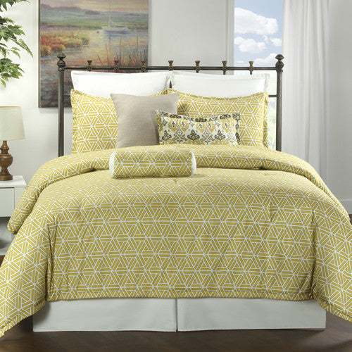Sun Yellow Geometric Dorm Bedding Set