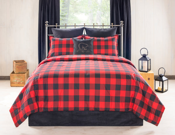Bear Creek Red and Black Buffalo Check Bedding Set