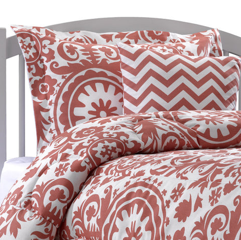 Bright Coral Duvet Bedding Set American Made Dorm Amp Home