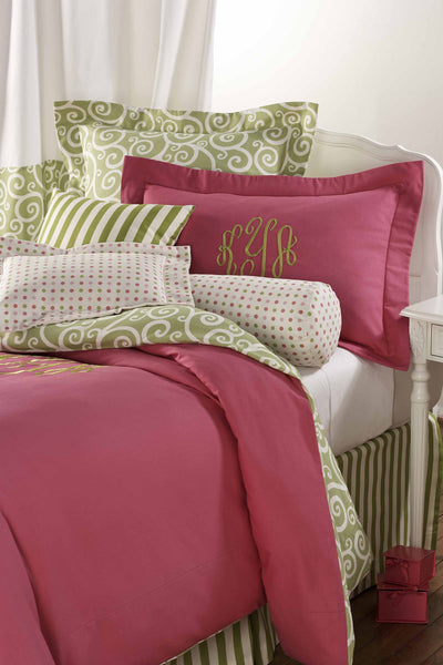 Raspberry Pink and Green Duvet Set by American Made Dorm