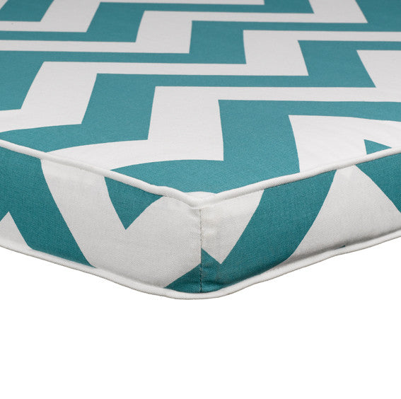 Turquoise Wide Chevron Headboard Side View by American Made Dorm