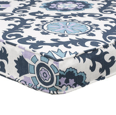 Navy Blue and Lavender Purple Berries Damask Dorm Headboard