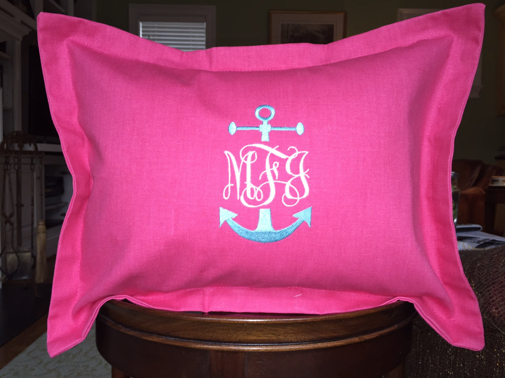 Anchors Accent Pillow Sham, 12x16, with Monogram