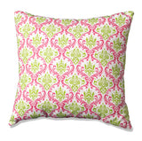Pink and Green Maddie Damask Accent Pillow