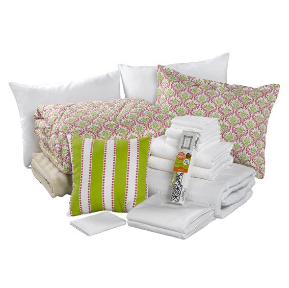 "Preppy Pink and Green Damask Print Dorm Bundle (""Maddie"") by American Made Dorm & Home"