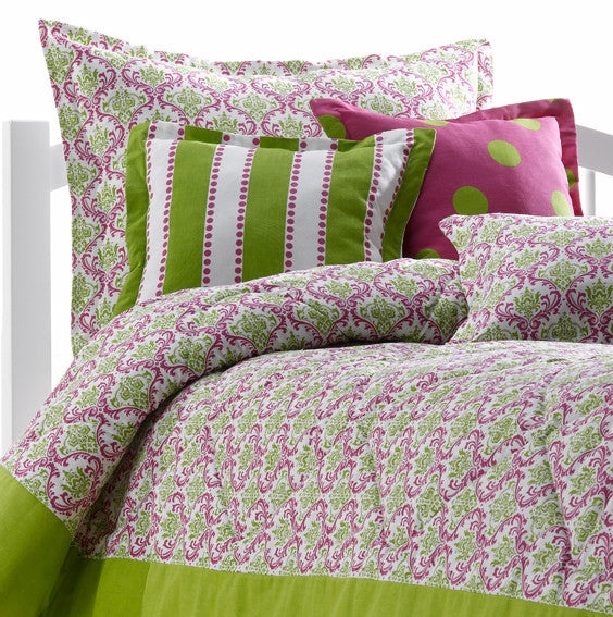 Pink and Green Damask Dorm Bedding from American Made Dorm & Home
