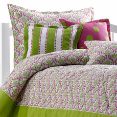 Hot Pink and Chartreuse Green Damask Kids Bedding