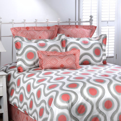 Gray and Coral Ogee Bedding Sets