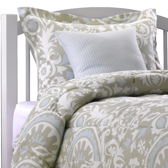 Seafoam And Taupe Suzani Comforter Set American Made