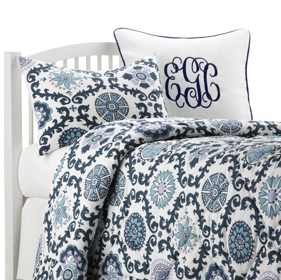Navy and Lavender Dorm Bedding by American Made Dorm & Home