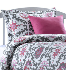 Hot Pink and Gray Modern Damask Childrens Bedding