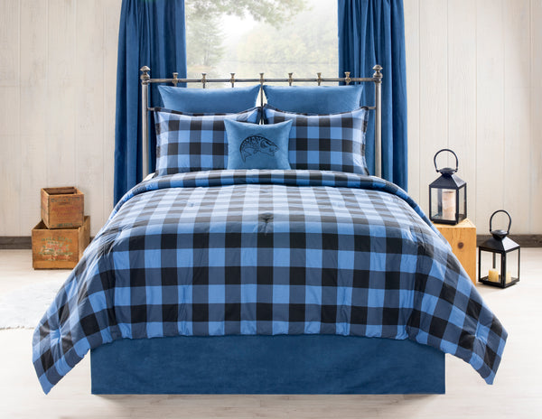 Still Lake Blue Buffalo Check Bedding Set
