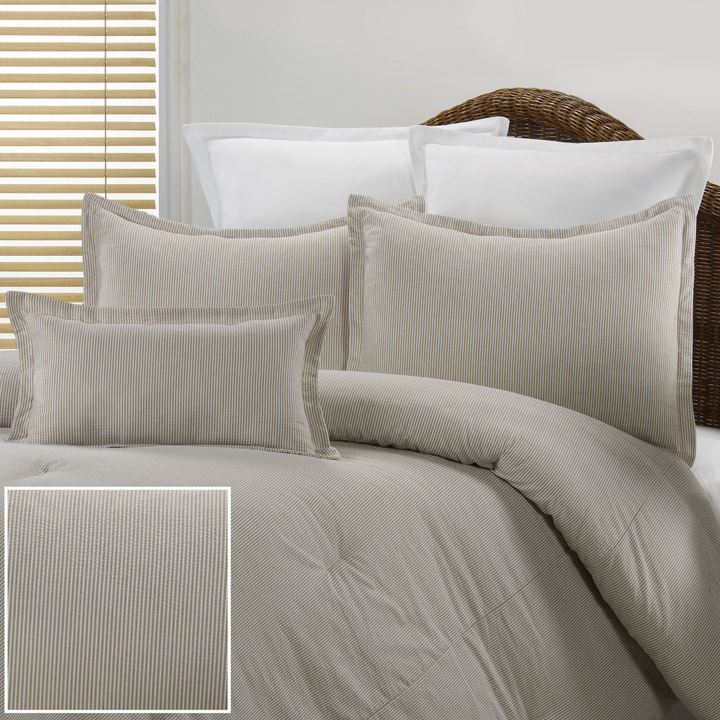 Tan Seersucker Dorm Bedding Set