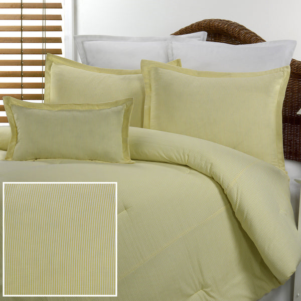 Yellow Seersucker Bedding Set