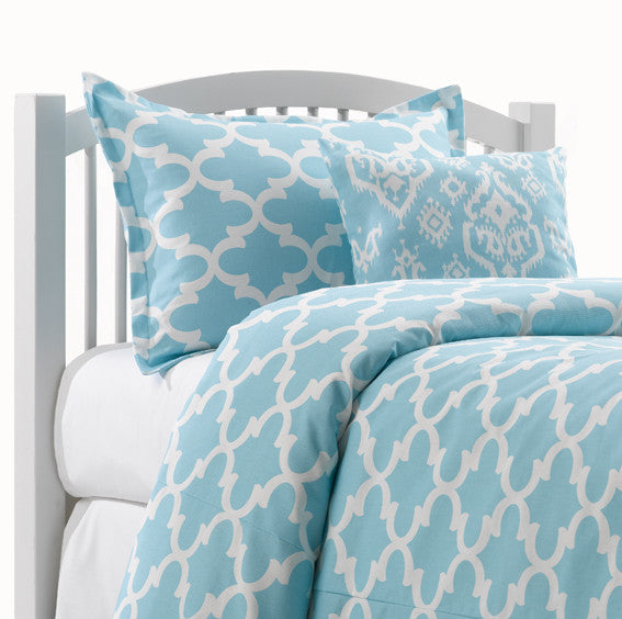 Sky Blue Dorm Bedding in Quatrefoil Design by American Made Dorm & Home