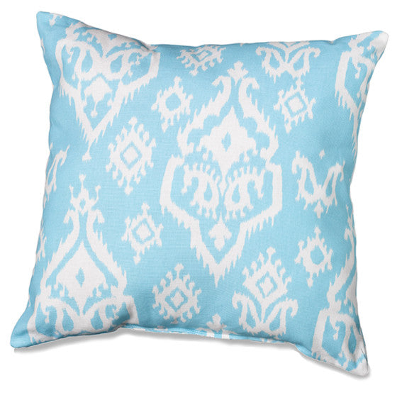 Sky Blue Accent Pillow with Indian Motif