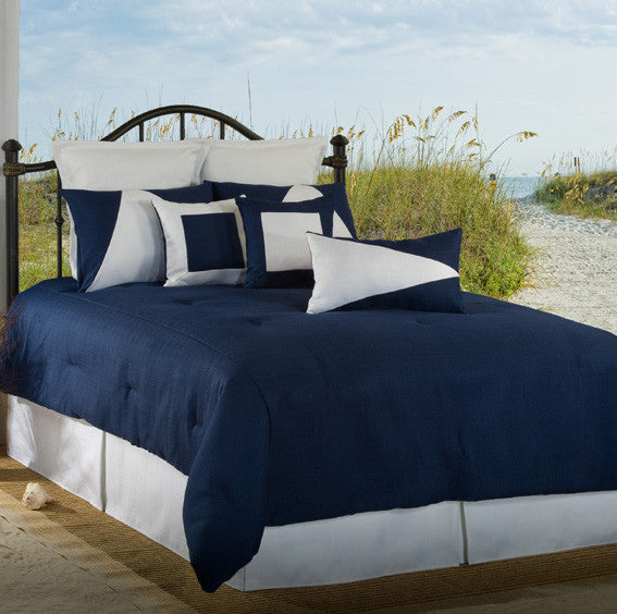 Solid navy Bedding Latitudes by Victor Mill