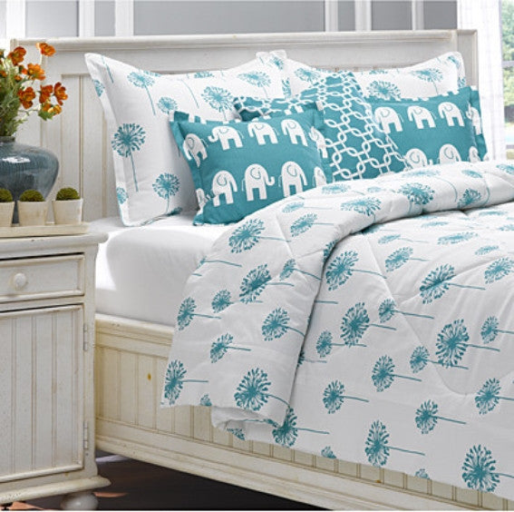 Turquoise Dandelion Bedding by American Made Dorm & Home