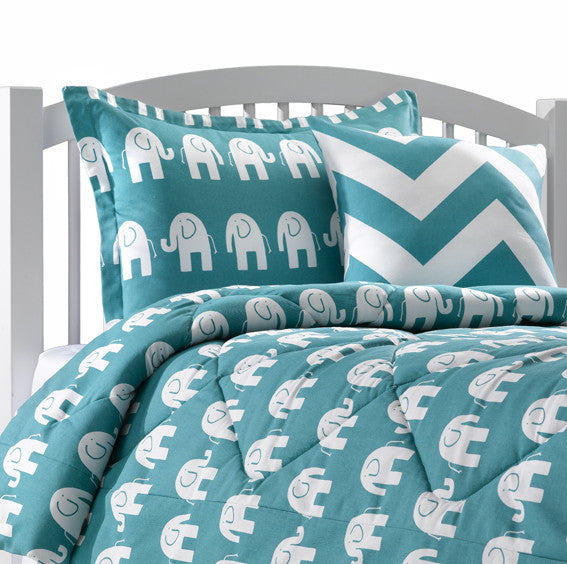 Turquoise Elephant Dorm Bedding Duvet from American Made Dorm & Home