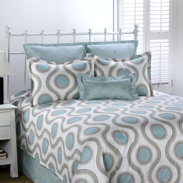 Susette Aqua and Gray Bedding Set