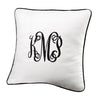 White Weave Euro Sham with Monogram