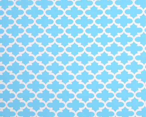 Sky Blue Quatrefoil Fabric by the Yard