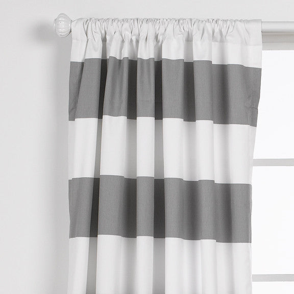 Gray Cabana Stripe Curtains