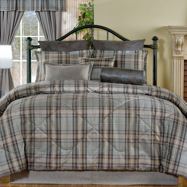 Hondo Gray Plaid Bedding by Victor Mill
