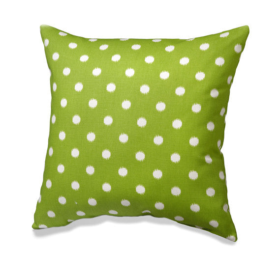 Chartreuse Green Ikat Dots Pillow