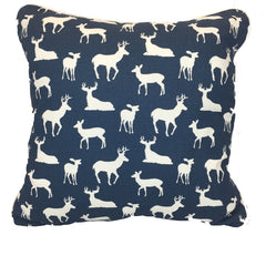 Navy Blue Deer Woodland Accent Pillow