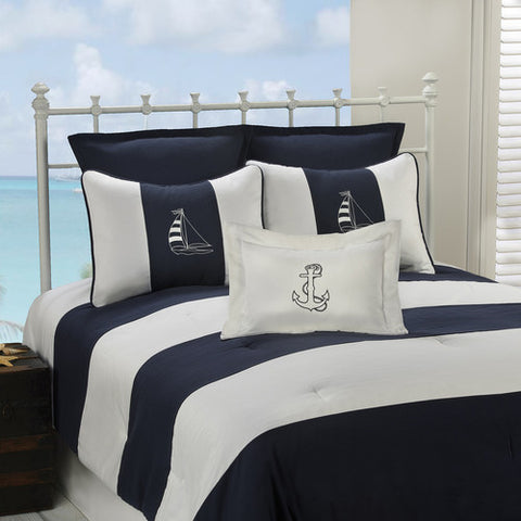 Navy Nautical Stripe Bedding Set from Victor Mill